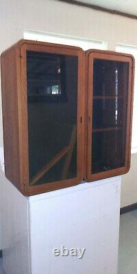 RARE Danish MCM Solid TEAK Wood Modular Wall Unit Two Side Glass Shelf Case Nice