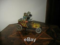 RARE MONKEY CAR DISTLER 1920's GERMANY TIN WIND UP TINPLATE NICE ANTIQUE TOY