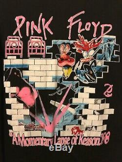 RARE VINTAGE 1988 PINK FLOYD A MOMENTARY LAPSE OF REASON TOUR TSHIRT L 80s NICE