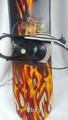 RARE Vintage Burton Chopper B-line 145cm Snowboard Flame Graphics Nice Bindings
