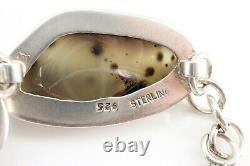 RARE Vintage Massive Moss Agate Sterling. 925 Silver Bracelet. Hand Made. NICE1