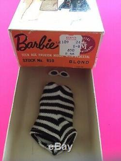 RARE! Vintage STOCK No 850 Blonde TM BOX #1, #2, or #3 Ponytail Barbie Nice