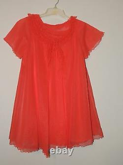 RARE Vintage Shadowline Baby Doll Gown & Robe Set Chiffon RED SEXY Size S NICE