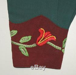 RARE Vtg 1930s Hand-Embroidered Fancy Western Shirt M Wool File Rockabilly NICE