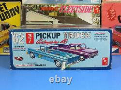 Rare Amt #k-132 200 1962 Ford F-100 Pickup With Trailer Unbuilt Complete Nice