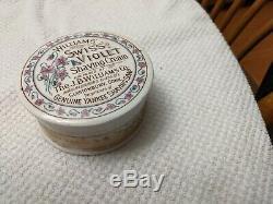 Rare Antique American Williams Swiss Violet Shaving Cream Pot Lid Complete Nice