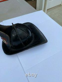 Rare Antique Black Leather Cairms & Brothers Fire Fireman Helmet 1800's NICE
