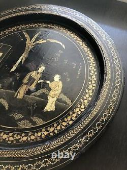 Rare Antique Chinese Gilt Black Lacquer Art Tray Court Scholar Figures Lady Nice