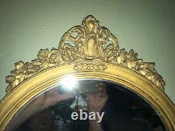 Rare Antique Federal Style Gold Gesso Finialed And Edged Mirror. Very Nice