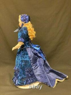 Rare Antique French Fashion Doll, Unusual Face, Nicely Dressed in Antique Fabric