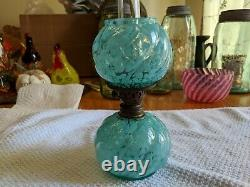 Rare Antique Northwood Miniature Opalescent Oil Lamp All Original Matching Nice