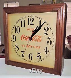 Rare Antique Original 1930's Coca Cola advertising Wall Clock Sign Nice
