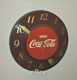 Rare Antique Original 1950's Coca Cola advertising Clock Sign NICE