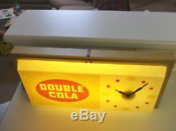 Rare Antique Original 1960's Double Cola advertising Clock Sign NICE