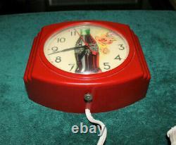 Rare Antique Original Coca Cola advertising Telechron Wall Clock Sign NICE