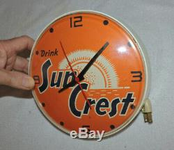 Rare Antique Original Sun Crest adversting telechron Clock Sign Nice