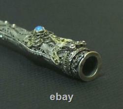 Rare Antique Silver Filigree Amber Cigarette Holder Nice Decoration Hand Made