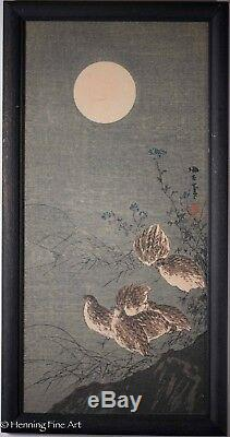 Rare Aoki Seiko Japanese Woodblock, Birds in the Moonlight, Signed & Nice