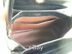 Rare GUCCI Vtg 1960s Black Leather Kelly Bag & Dust Bag, Nice