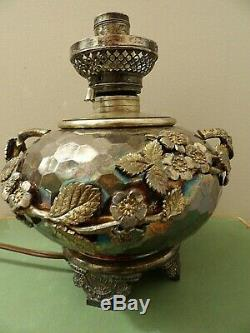 Rare Meridan Silver Plate Aesthetic Kerosene Oriental Figural Lamp Nice