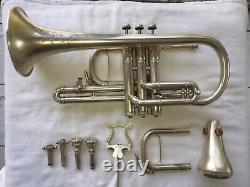 Rare Nice Shape Antique Silver Plated Cornet Instrument C. G. Conn #96669 Trumpet