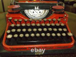Rare Red 1920s Underwood Four Bank Portable Typewriter Keyboard Antique Nice Rar