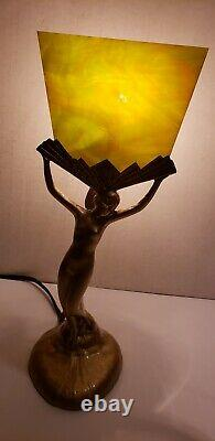 Rare Restored Antique Vintage Art Deco Cast Woman Lady Nude Table Lamp Very Nice