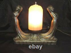 Rare Vintage Art Noveau 2 Women Nude Metal Lamp Pink Glass Shade Nice Works