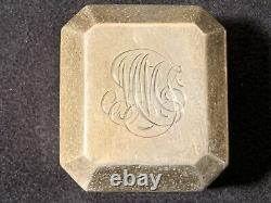 Rare Vintage Birks Sterling Silver Square Ring Box 1.5 Monogrammed Nice Cond