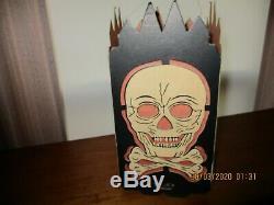 Rare Vintage Halloween Paper Die Cut Skull Lantern Nice Original Antique USA