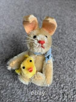 Rare Vintage Miniature Schuco Mohair Bunny Rabbit Fully Jointed Big Feet NICE