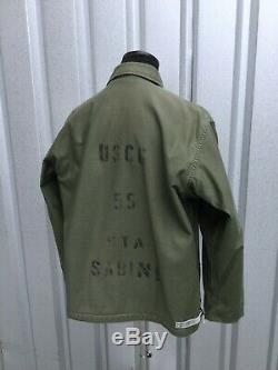 Rare Vtg USCG Deck Jacket Vtg US Navy Deck Jacket Nice Stencil Clean Sz L/XL