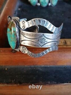 Rare Wow Antique Navajo Sterling Fred Harvey Snake Cuff Turquoise #8 Nice