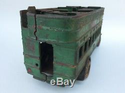 Super Rare Antique Arcade Cast Iron Yellow Coach Green Toy Bus Very Nice Wow