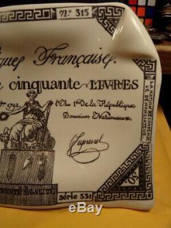 VINTAGE Fornasetti-Milano Postage Currency Ashtray/Trinket Dish SUPER RARE NICE