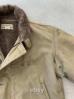 VTG 1940s WW2 USN U. S. Navy N-1 U. S. S CHUB (SS-329)Deck Jacket Size 38 Rare Nice