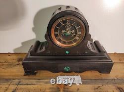 Victorian Slate Mantel Clock French Movement Barrel Beautiful Rare Quality Nice