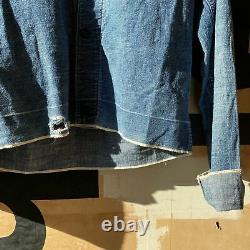 Vintage 40's WW2 Modified Coke Pullover Selvedge Work Shirt RARE NICE Small