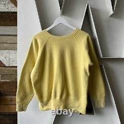 Vintage 50s 60s Yellow Raglan Sweat XL Gusset NICE RARE Russell all cotton