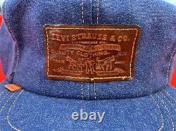 Vintage 70s Levis Orange Tab Leather Strapback Denim Trucker Hat USA RARE NICE