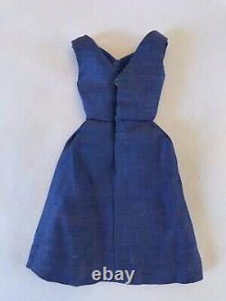 Vintage Barbie Shantung Blue Silk Campus Belle Dress HTF (1964-65) NICE & RARE