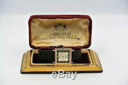 Vintage Cortebert Mens Watch 18k Solid Gold Art Deco Nice Condition Rare