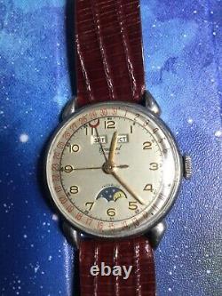 Vintage Crawford Steel Triple Calender Moonphase Watch, All Original, Nice! Rare