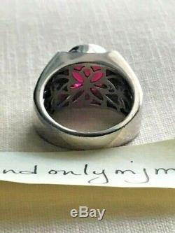 Vintage Men's Silver Ring 5 Ct Ruby with Onyx Diamonds Size 10.25 VERY NICE! RARE