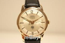 Vintage Rare Nice Tropical Gold Plated Mechanical Swiss Men's Watch Olma 17j