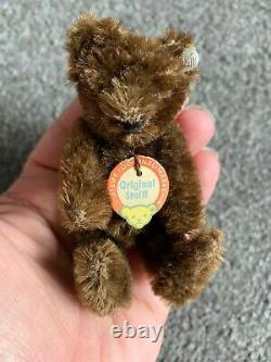 Vintage STEIFF Mini Bear 3.5 Rare Dk Brown WithButton In Ear & Chest Tag NICE NR