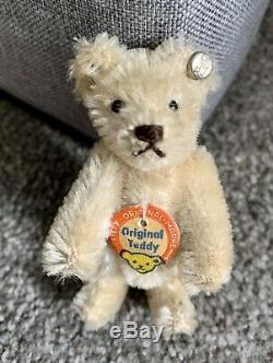 Vintage STEIFF Mini Bear 3.5 Rare WHITE WithButton In Ear & Chest Tag NICE NR