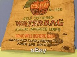 Vintage Water Bag Hirsch Weis Canvas GM Chevrolet Car Pickup Truck Accessory Old