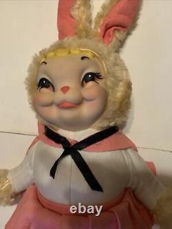 Vtg RARE Rushton Rubber Face Star Creation Plush Bunny Rabbit 24 Inch Tall NICE